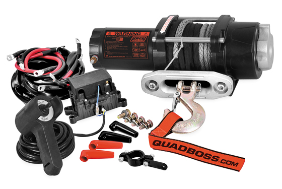 quadboss 3 500 lb winch with dyneema synthetic rope
