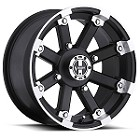 "Vision 393 Lock Out ATV Wheels - 14"" Matte Black w/ Machined Lip"