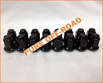 Set of 16 3/8x24 Beveled Lug Nuts, Black, 14mm Hex