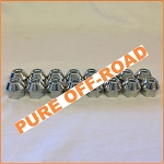 Set of 16 10x1.25 Tapered Open End Lug Nuts, 17mm Hex