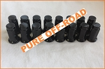 Set of 16 3/8x24 Flat Base Lug Nuts, Black, 14mm Hex
