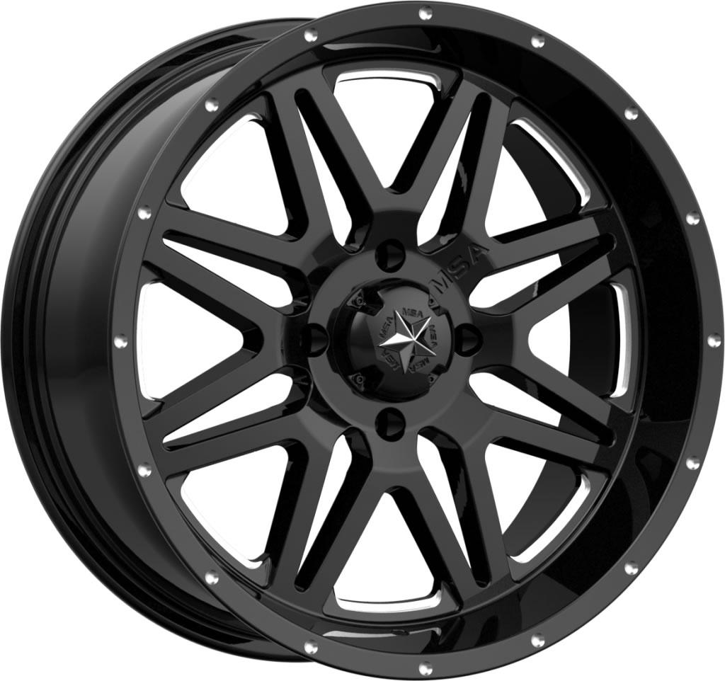 "MSA M26 Vibe 14/"" UTV Wheel Rim 14x7 4//137 0 Offset Milled Gloss Black"
