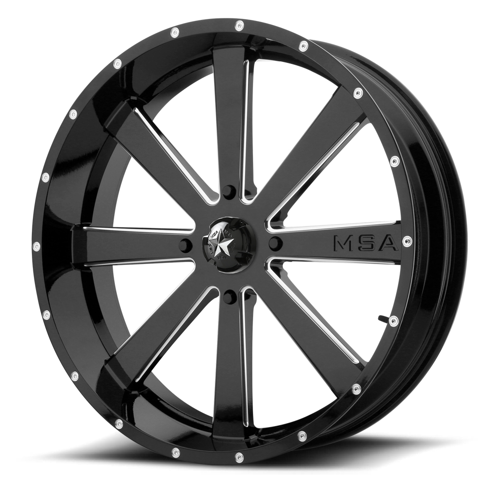 Msa M34 Flash Utv Wheels 18 Inch Glossy Black Milled With Optional
