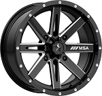 MSA M41 Boxer Wheels, 16 Inch Glossy Black Milled (with optional mounted tires)