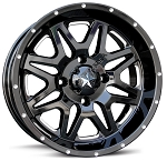 MSA M26 Vibe Wheels, 18 Inch Glossy Black Milled (with optional mounted tires)