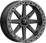 MSA M31 Lok2 Beadlock Wheels - 18 Inch Satin Black w/ Matte Gray Ring (with optional mounted tires)