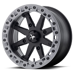 MSA M31 Lok2 Beadlock ATV Wheels - 14x7 Satin Black w/ Matte Gray Ring