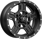 MSA M32 Axe Rims, 15 inch Satin Black (with optional mounted tires)