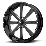 Motosport Alloys M34 Flash 20 Inch Glossy Black Milled Wheels (with optional mounted tires)