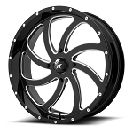 Motosport Alloys M36 Switch 20 Inch Glossy Black Milled Wheels (with optional mounted tires)