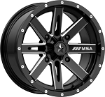 MSA M41 Boxer Wheels, 15 Inch Glossy Black Milled (with optional mounted tires)