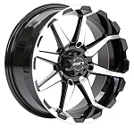 STI HD6 ATV Wheels, 17 Inch Glossy Black Machined (with optional mounted tires)
