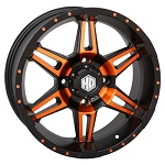 STI HD7 Wheels, 17 Inch Matte Black & Radiant Orange (with optional mounted tires)