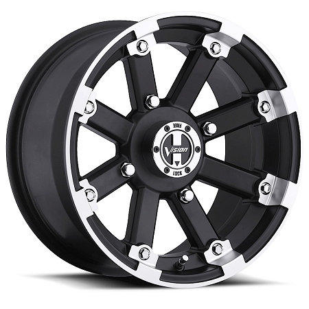 Vision Lock Out Atv Wheels 12 Quot Matte Black With Machined Lip