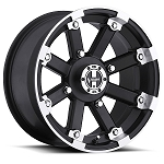 Vision 393 Lock Out ATV Wheels - 12 inch Matte Black w/ Machined Lip