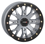 System 3 SB-4 15 Inch Beadlock Wheels, Satin Cement Grey, 6+1 Offset (with optional mounted tires)