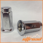 10x1.25 Flat Base Lug Nuts, Chrome, 14mm Hex