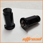 3/8x24 Flat Base Lug Nuts, Black, 14mm Hex