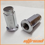 3/8x24 Flat Base Lug Nuts, Chrome, 14mm Hex