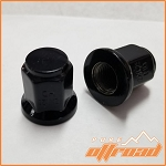 12x1.25 Flat Base Black Lug Nuts, 17mm Hex