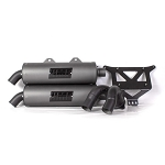 HMF Blackout Titan Dual Slip On Exhaust System for Polaris RZR XP Turbo