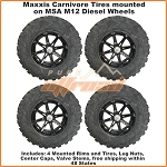 Maxxis Carnivore Tires on MSA M12 Diesel Wheels, Complete Tire and Wheel Kit