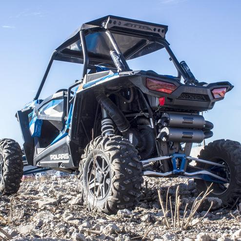 HMF Blackout Titan Dual Slip On Exhaust System for Polaris RZR XP Turbo