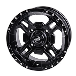 Tusk Beartooth 14 Inch Wheels, Matte Black, 4+3 Offset