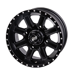 Tusk Cascade 14 Inch Wheels, Matte Black, 4+3 Offset