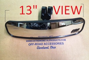 EMP 13 inch Wide Panoramic Rear View Mirror (fits 1-3/4 to 1-7/8 inch bars)