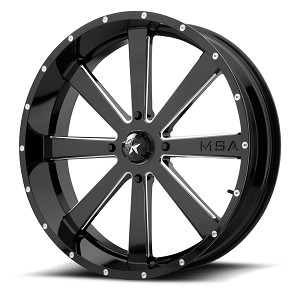 Motosport Alloys M34 Flash 18 Inch Glossy Black Milled Wheels (with optional mounted tires)