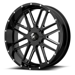 Motosport Alloys M35 Bandit 18 Inch Glossy Black Milled Wheels (with optional mounted tires)