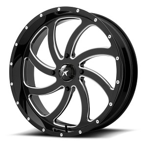 Motosport Alloys M36 Switch 18 Inch Glossy Black Milled Wheels (with optional mounted tires)