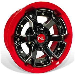 No Limit Deuce 15 Inch 2 Piece Red Wheels, (matches Polaris Indy Red, Can Am Viper Red)