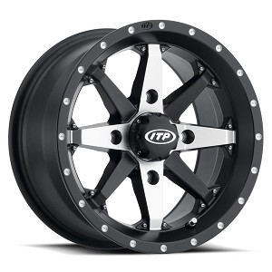 ITP Cyclone Wheels w/ Optional Colored Inserts, 14 inch Matte Black Machined