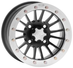 ITP SD Series Dual Beadlock Wheels - 14 Inch Black w/ Polished Ring