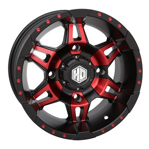 STI HD7 Wheels, 14 Inch Matte Black & Radiant Red