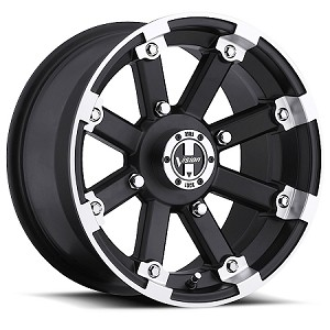 "Vision 393 Lock Out ATV Wheels - 15"" Matte Black w/ Machined Lip"