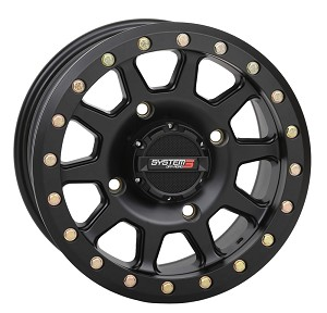 System 3 SB-3 15 Inch Beadlock Wheels, Matte Black, 5+2 Offset (with optional mounted tires)