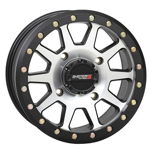 System 3 SB-3 15 Inch Beadlock Wheels, Machined, 5+2 Offset (with optional mounted tires)