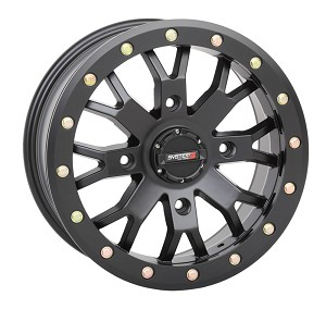 System 3 SB-4 15 Inch Beadlock Wheels, Matte Black, 6+1 Offset (with optional mounted tires)