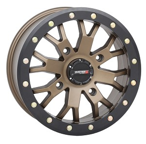 System 3 SB-4 15 Inch Beadlock Wheels, Bronze, 4+3 Offset (with optional mounted tires)