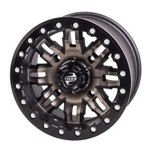 Tusk Teton 14 Inch Beadlock Wheels, Smoke/Black, 4+3 Offset